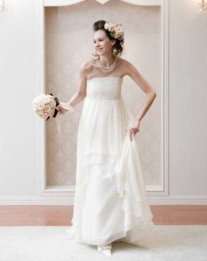 家族婚 ドレス エンパイアライン