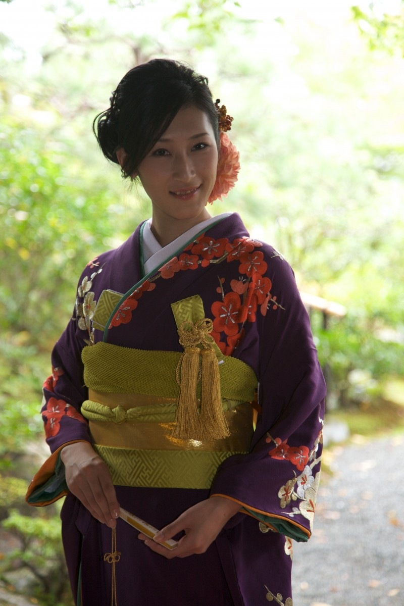 紫地 手刺繍 梅に鶴【2】