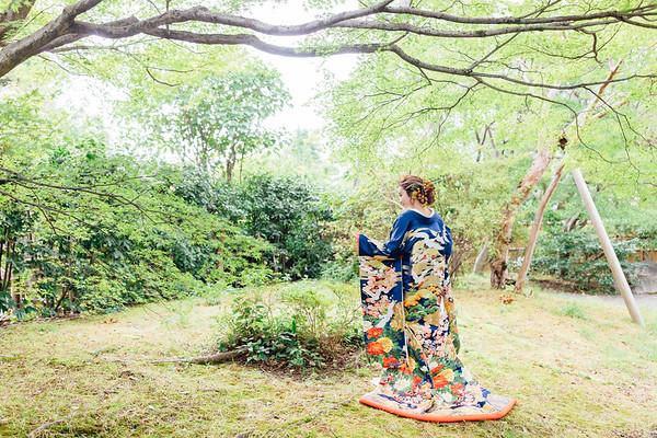 紺地 鶴に雲取り【2】